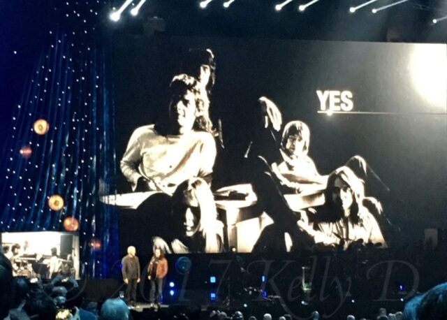 Rush's Geddy Lee and Alex Lifeson induct Yes - photo by Kelly D
