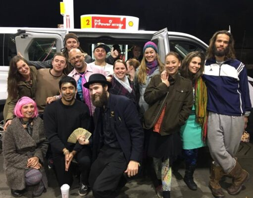 Party van-goers en route to the Stone Church, complete with magician! Photo by Kara Kharmah